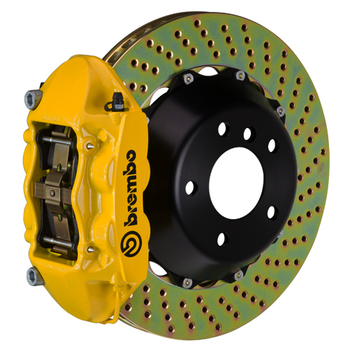brembo CAST MONO 4 piston 2 piece 345 365 380mm drilled yellow med